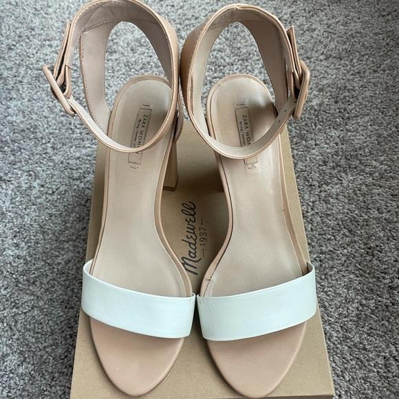 Zara two tone heel sandals size 8